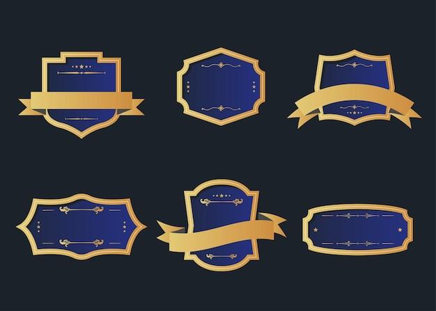 Coleção de rótulo de emblema retrô de estilo vintage. elementos de design no escuro.