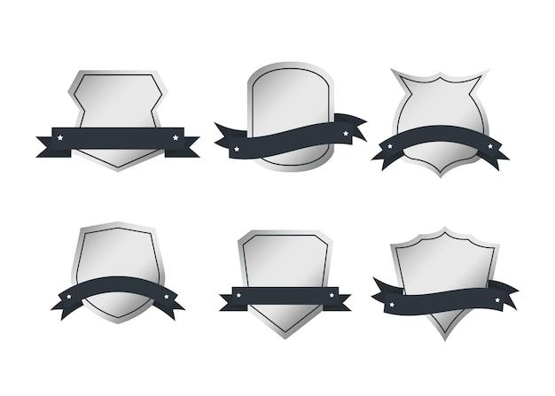 Coleção de rótulo de emblema retrô de estilo vintage em branco de metal.