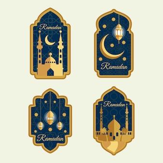 Coleção de rótulo de estilo plano ramadan
