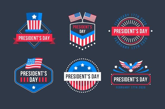 Coleção de rótulo de evento do dia do presidente