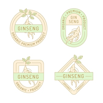 Coleção de rótulo de frasco de ginseng