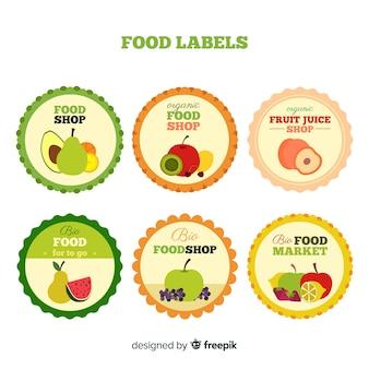 Coleção de rótulo de frutas orgânicas