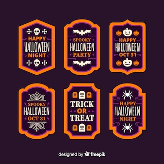 Coleção de rótulo de halloween de design plano