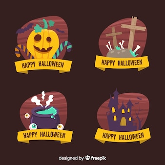 Coleção de rótulo de halloween em fundo preto