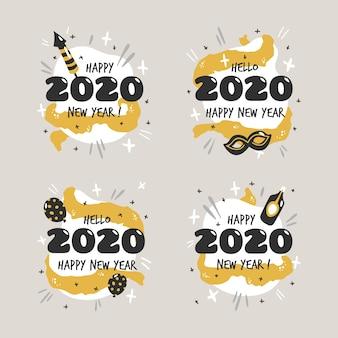 Coleção de rótulo de mão desenhada ano novo 2020