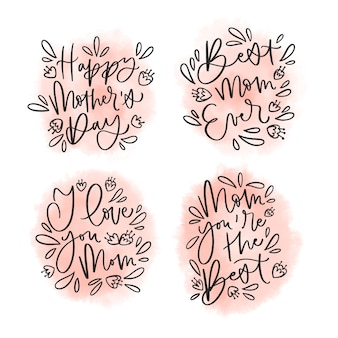 Coleção de rótulo de mão desenhada dia das mães
