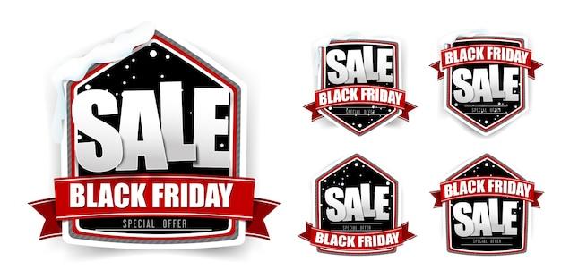 Coleção de rótulo de marca venda sexta-feira negra vintage com casa de neve