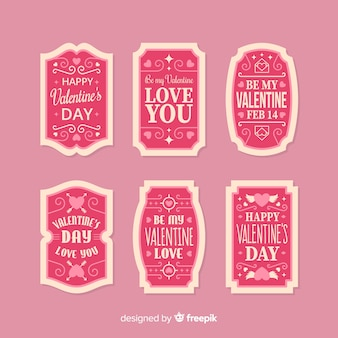 Coleção de rótulo de mensagem de dia dos namorados