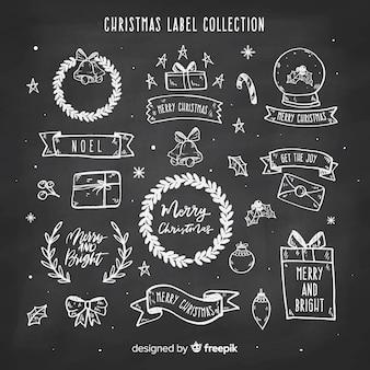 Coleção de rótulo de natal de quadro-negro