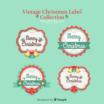 Coleção de rótulo de natal vintage colorida