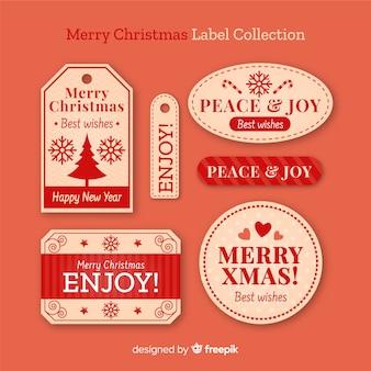 Coleção de rótulo de natal vintage