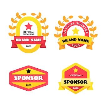 Coleção de rótulo de patrocinador de design plano