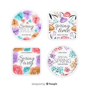 Coleção de rótulo de primavera aquarela