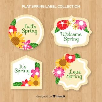 Coleção de rótulo de primavera floral plana