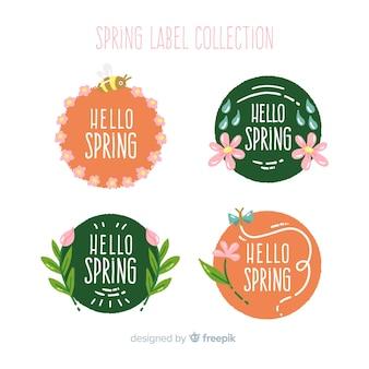 Coleção de rótulo de primavera mão desenhada