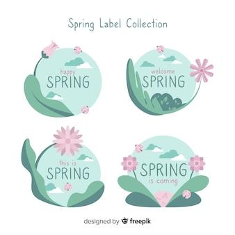 Coleção de rótulo de primavera plana
