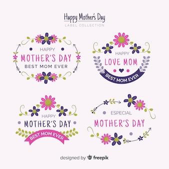 Coleção de rótulo de quadros florais de dia das mães