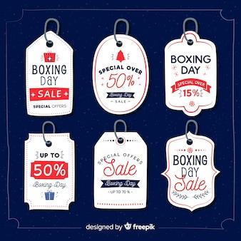Coleção de rótulo de venda de dia de boxe