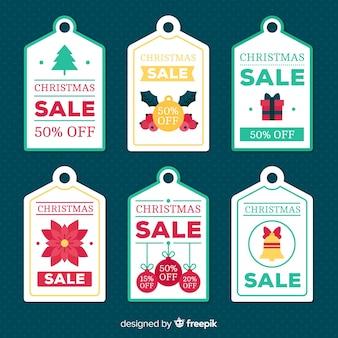 Coleção de rótulo de venda de elementos planos de natal