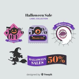 Coleção de rótulo de venda de halloween com design plano