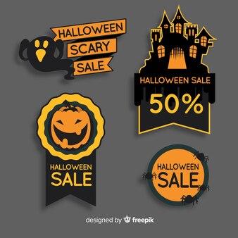 Coleção de rótulo de venda de halloween