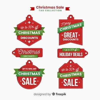 Coleção de rótulo de venda de Natal de formas diferentes