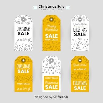 Coleção de rótulo de venda de natal doodle