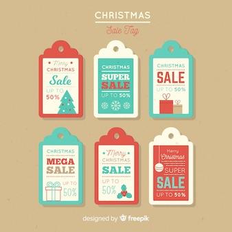 Coleção de rótulo de venda de natal vintage