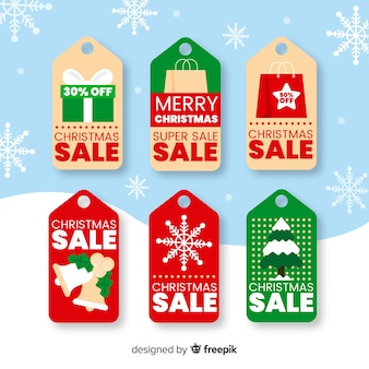 Coleção de rótulo de venda de natal