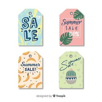 Coleção de rótulo de venda de verão