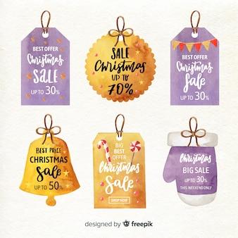 Coleção de rótulo de venda em aquarela de natal