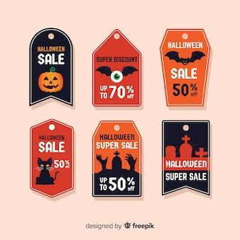 Coleção de rótulo de venda moderna de halloween com design plano