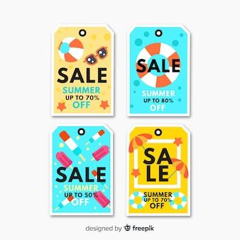 Coleção de rótulo de venda verão colorido