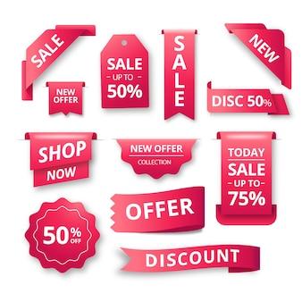 Coleção de rótulo de vendas realista gradiente vermelho