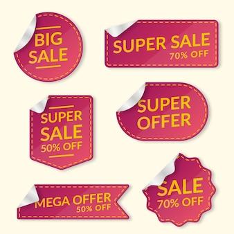 Coleção de rótulo de vendas realista vermelho