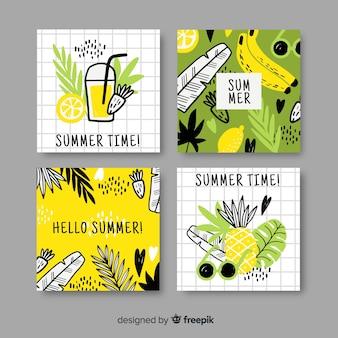 Coleção de rótulo de verão desenhada de mão