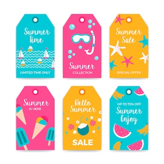 Coleção de rótulo de verão venda com elementos de verão