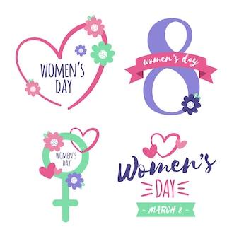 Coleção de rótulo / distintivo de dia das mulheres com flores
