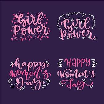Coleção de rótulo / distintivo de dia das mulheres com letras