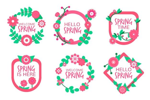 Coleção de rótulo / distintivo de primavera em design plano