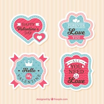 Coleção de rótulo / distintivo do dia dos namorados