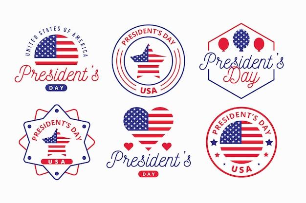 Coleção de rótulo do dia do presidente com bandeira