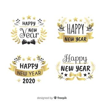 Coleção de rótulo e crachá de ano novo de 2020