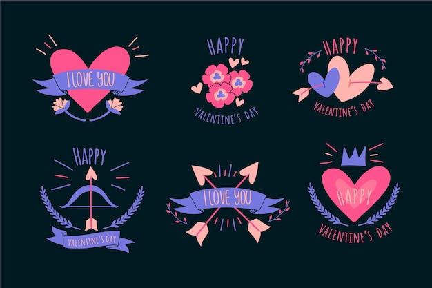 Coleção de rótulo e distintivo de corações e fitas dos namorados