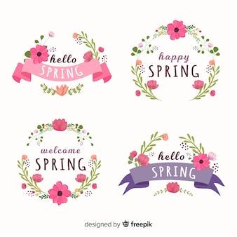 Coleção de rótulo floral primavera