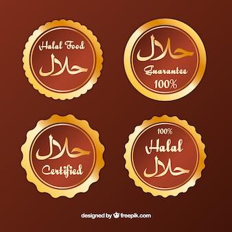 Coleção de rótulo halal dourado com design plano