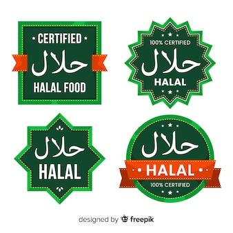 Coleção de rótulo halal verde com design plano