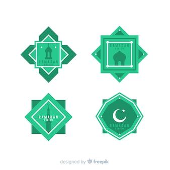 Coleção de rótulo plana ramadan