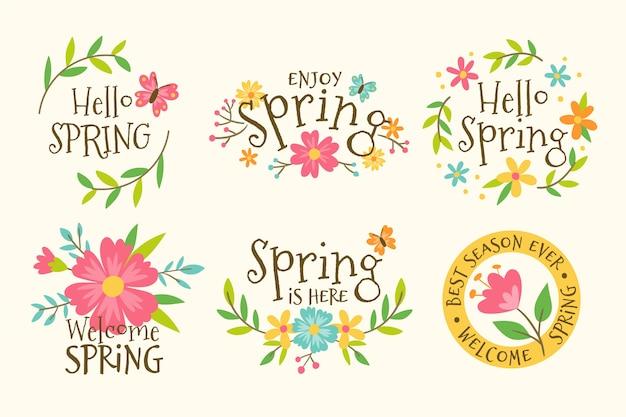 Coleção de rótulo primavera desenhada de mão
