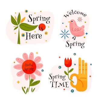 Coleção de rótulo primavera desenhados à mão